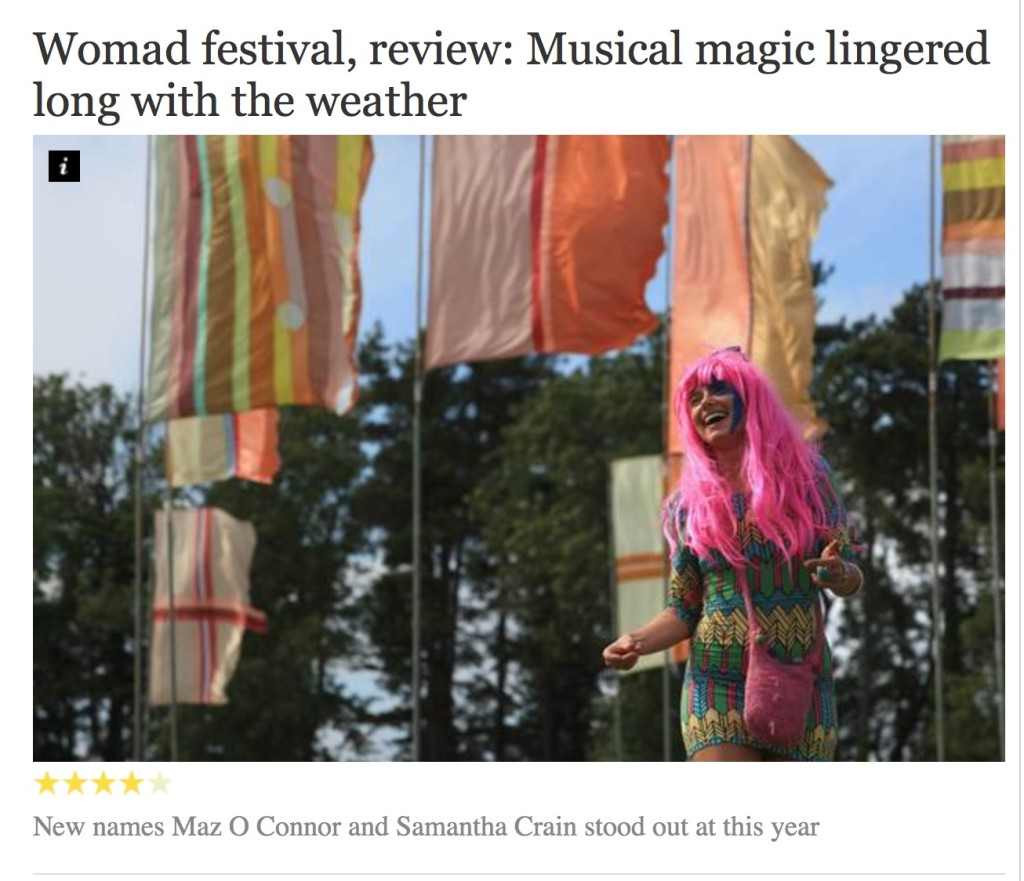 Maz O'Connor stand-out artist in Independent WOMAD review