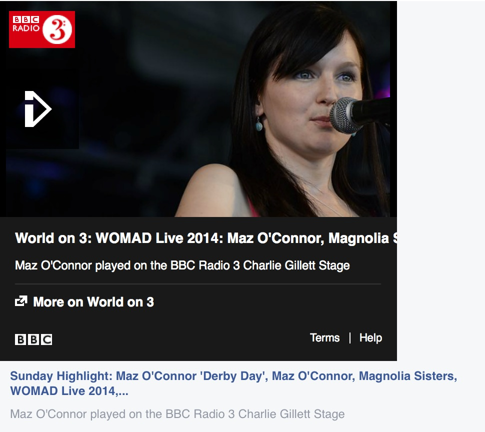 Maz O'Connor picked for BBC WOMAD Highlights
